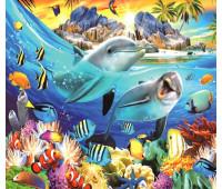 Дельфины в тропическом море 40х50 - АЛМАЗНАЯ МОЗАИКА