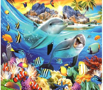 Дельфины в тропическом море 40*50