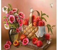 Натюрморт с персиками 40х50 - АЛМАЗНАЯ МОЗАИКА