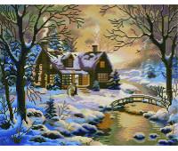 Восход солнца зимой 40х50 - АЛМАЗНАЯ МОЗАИКА