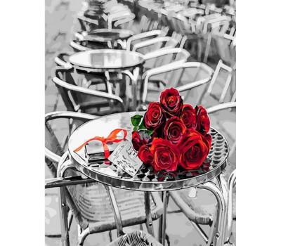 Розы на столике - картина по номерам