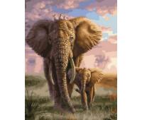 Слоненок на прогулке с мамой